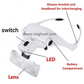 MG9892B1 2 LED Interchangeable Magnifier With 5 Lens * Images are for illustrative purposes only